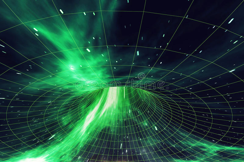 Wormhole in space, interstellar warp, traveling trough space and time. 3d rendering. Wormhole in space, interstellar warp, traveling trough space and time, 3d royalty free illustration