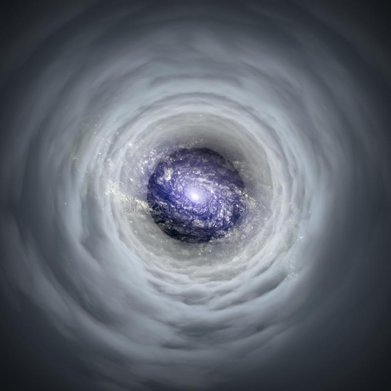 Wormhole. Tunnel in clouds leads to the galaxy stock illustration