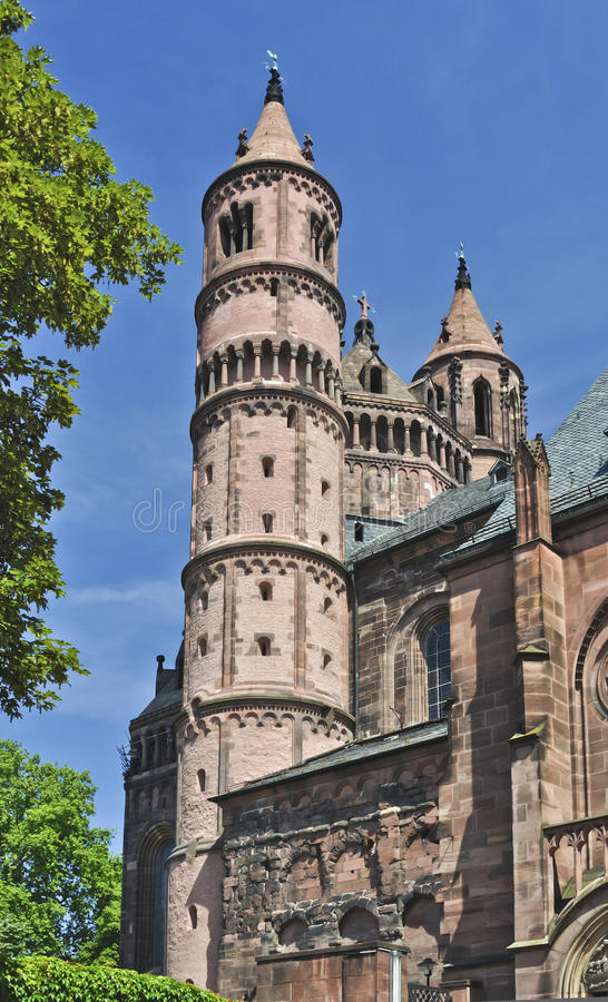 Worms Cathedral. The cathedral of St Peter (German: Wormser Dom) is a church at Worms in south-western Germany. It was founded in 1110. It was the seat of the stock image