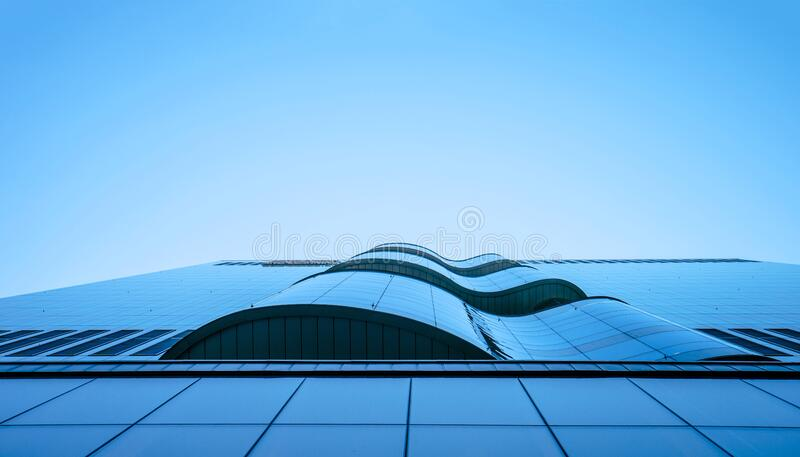 Worms Eye View of City Building Under Blue Sunny Sky stock photos