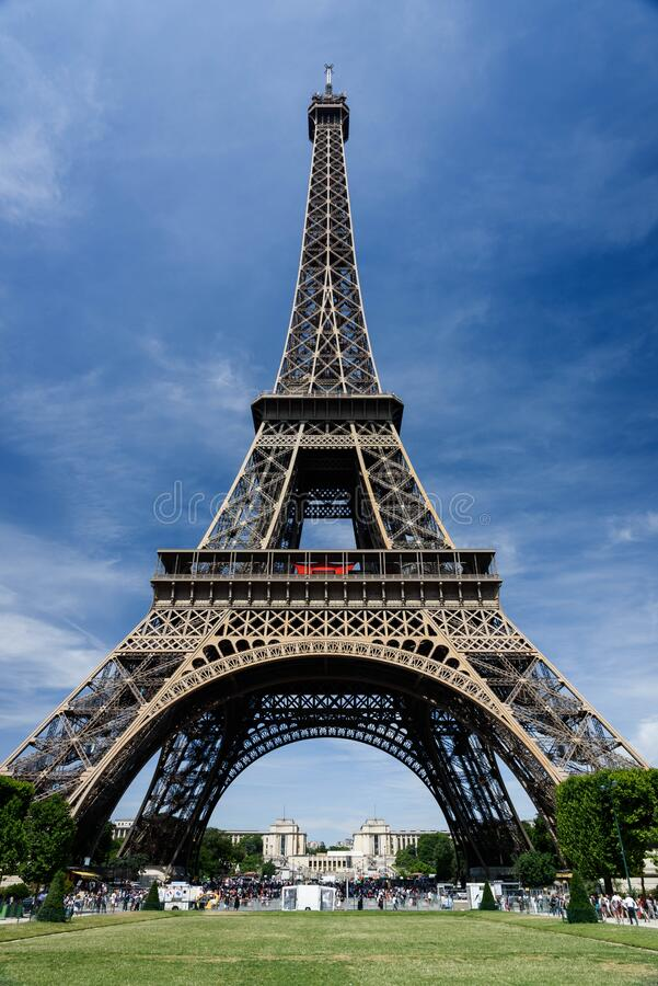 Worms View of Eiffel Tower during Daytime royalty free stock images