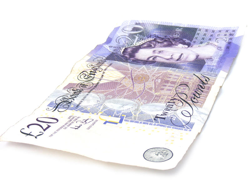 Worn 20 pound note stock image