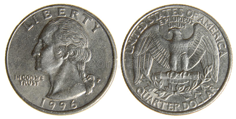 Worn American Quarter from 1996. Both sides of an old (1966) US quarter, isolated on a white background stock photos