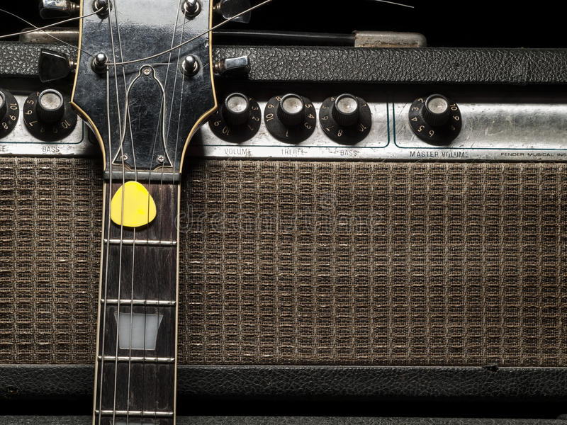 Worn amp and electric guitar stock photography
