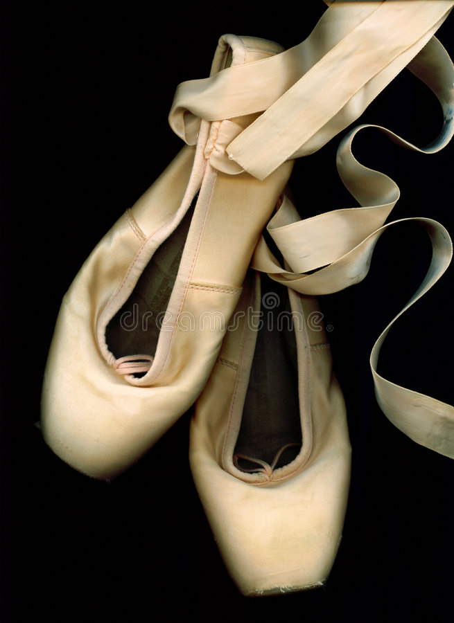 Worn Ballet Pointe Shoes stock photography