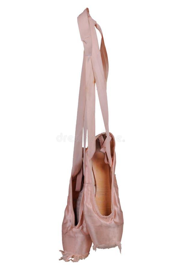 Worn ballet shoes stock photos