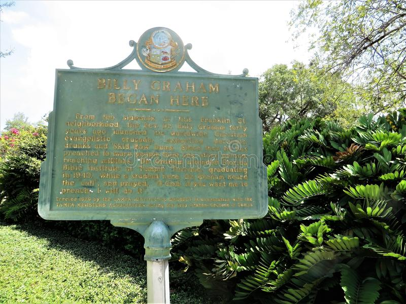 Historical marker, Tampa, Florida stock images