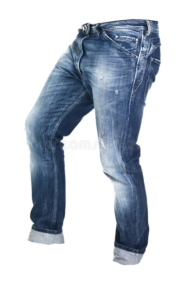 Worn blue jeans isolated stock photos