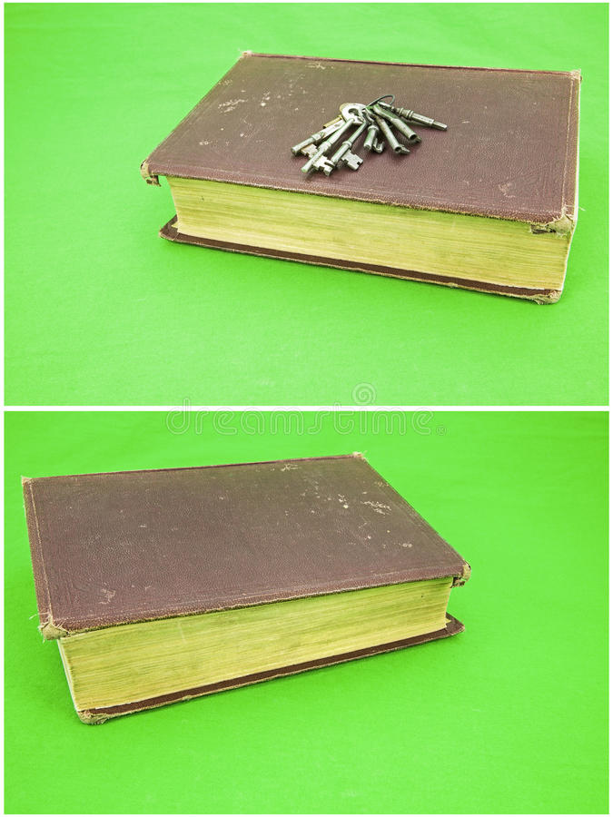 Worn book collage skeleton house keys background royalty free stock photography