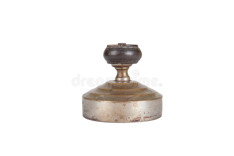 Worn cover from an old samovar isolated on a white background stock photography