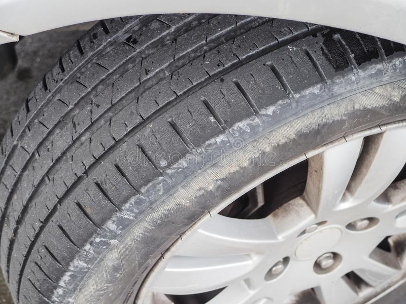 Worn and cracked vehicle tire.  royalty free stock images