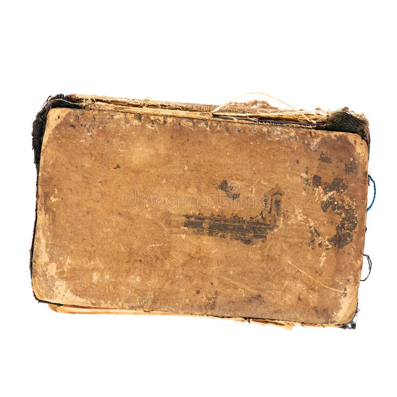 Worn old book, top view. Object isolated on white background with clipping path stock images