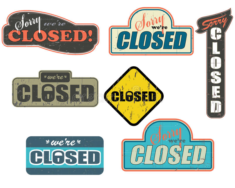 Worn_out_closed_store_signs ilustração royalty free