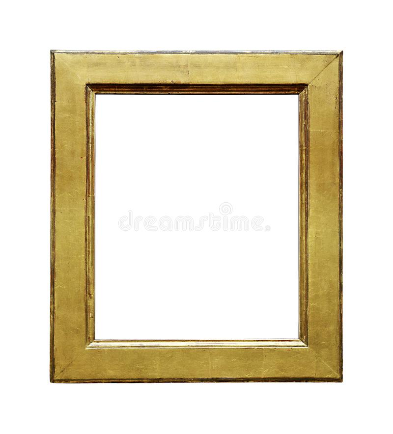 Worn-out, gilded picture frame. Worn gilding, the picture frame is engraved, cut on a flat white background. File contains clipping path stock photos