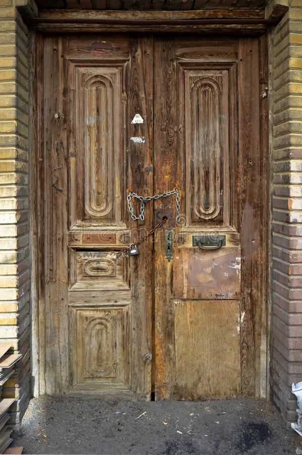 Worn out old wooden door. Old wooden door painted in Istanbul Büyükada - Princes Islands royalty free stock images