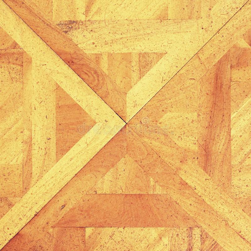 Worn out wooden floor of castle hall. Light wood flooring. Worn by use with defect stock photos