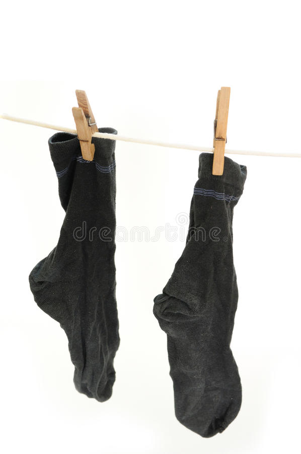Worn Socks Drying On The String Royalty Free Stock Photo