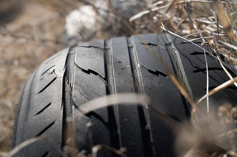 Worn tire used as ornament royalty free stock images
