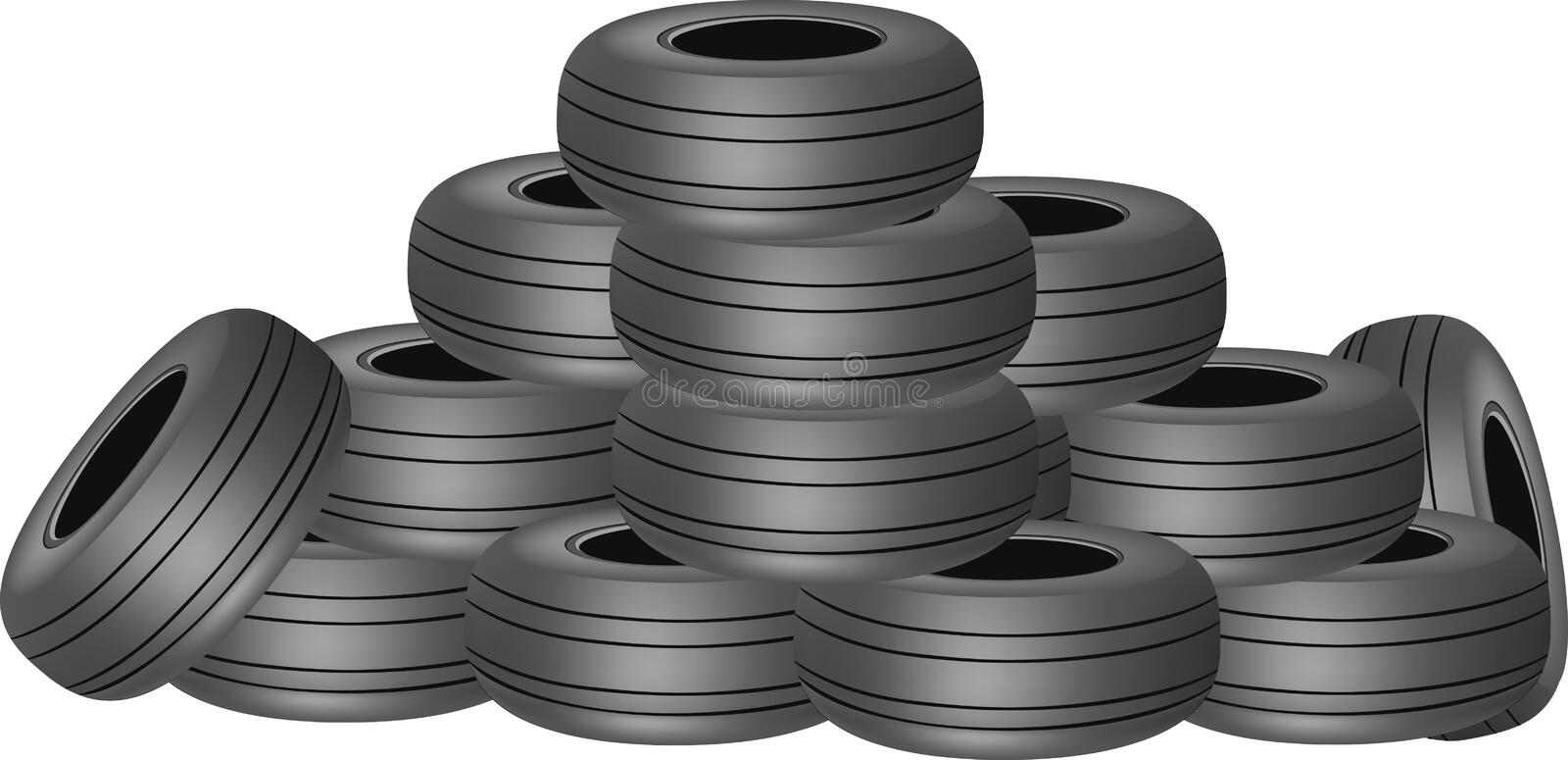 Worn tires in a heap. Pile of tires truck tires used or new vector illustration