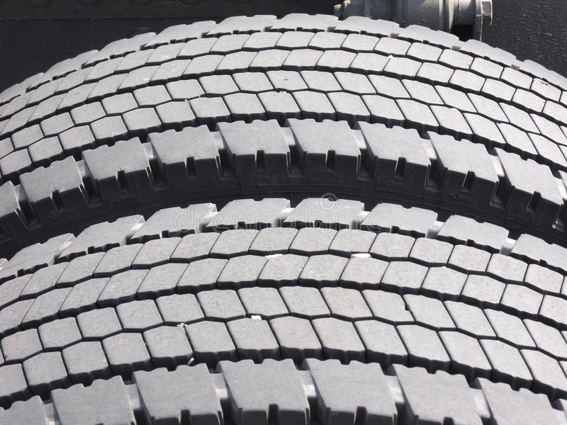 Worn truck tires stock image
