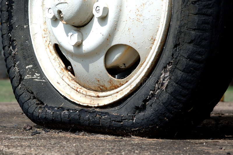Worn tyre stock photography