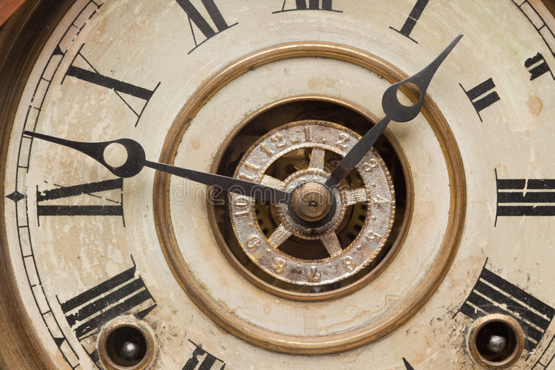 Worn Vintage Antique Clock Face royalty free stock photos