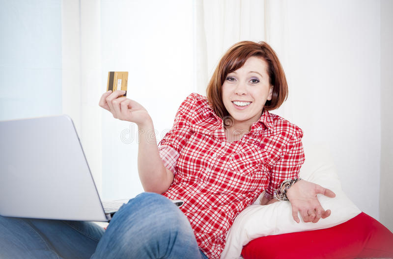 Download Worreid Red Haired Woman Online Shopping On White Background Stock Photo - Image: 37829576