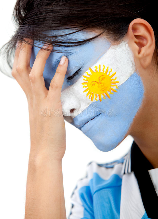 Download Worried Argentinean Football Fan Stock Image - Image: 14819643