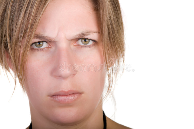 Worried blond woman stock image