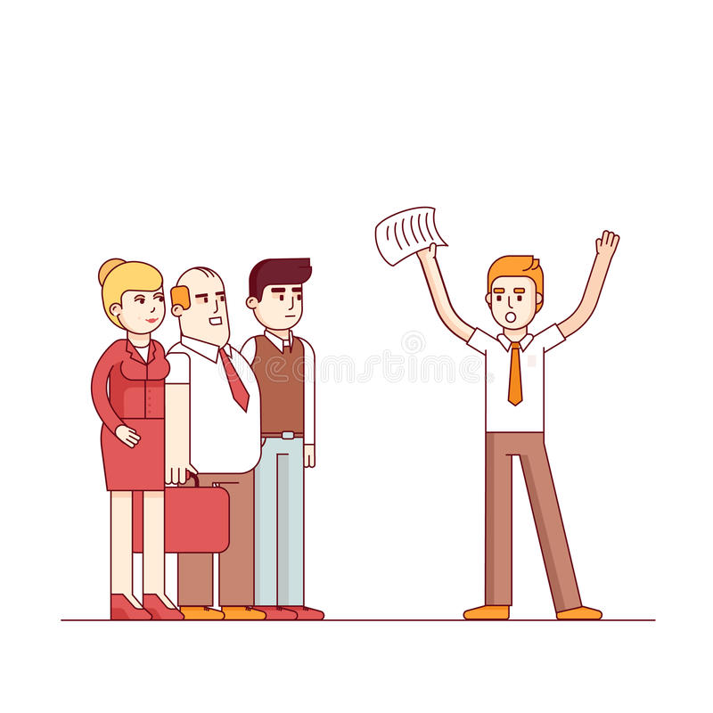 Worried business man yelling at listening people. Waving hands with paper. Modern flat style thin line vector illustration. Concept isolated on white background stock illustration