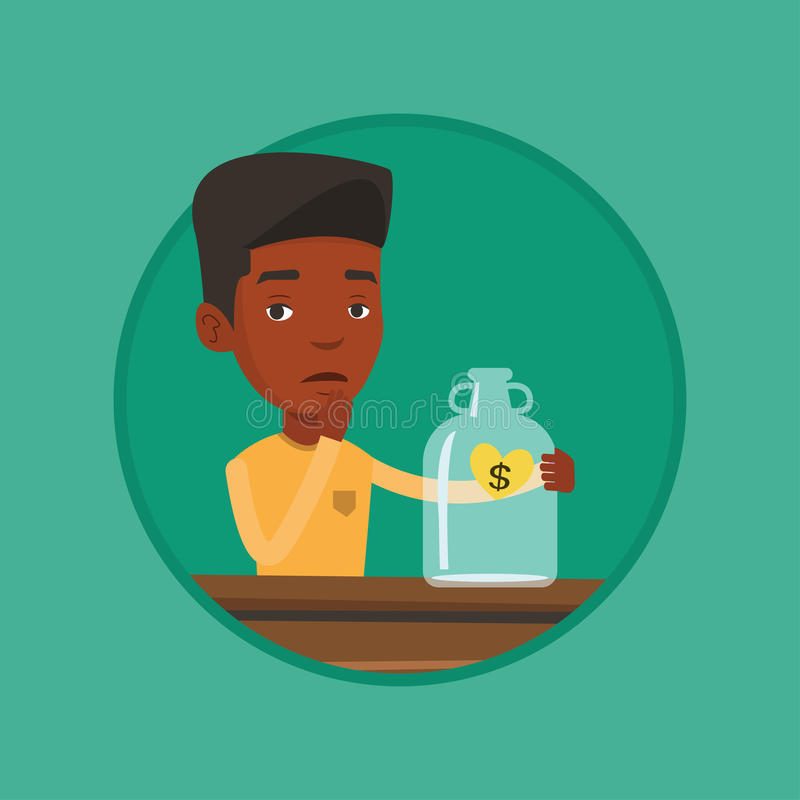 Worried businessman looking at empty money box. Worried bankrupt looking at empty money box. Desperate bankrupt sitting at the table with empty money box stock illustration