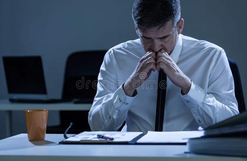 Worried businessman praparing for presentation stock image