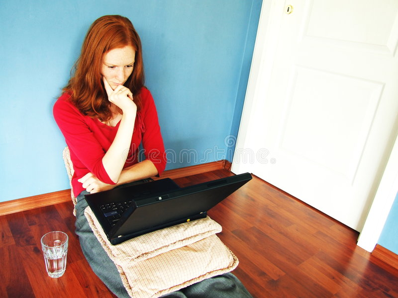 Download Worried Computer Work stock photo. Image of sitting, news - 2772212