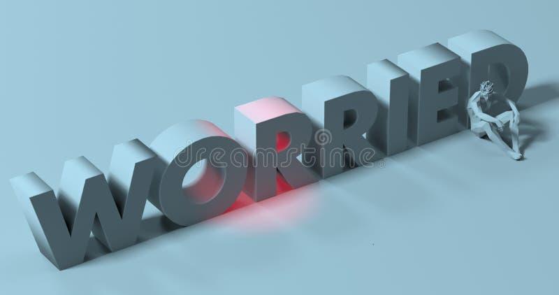 Worried - 3d render lettering sign, near tired depressed man, il stock illustration