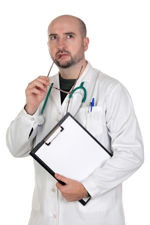 Worried doctor with pensive gesture royalty free stock image
