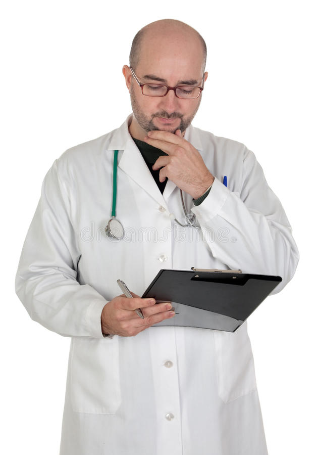 Worried doctor with pensive gesture stock image