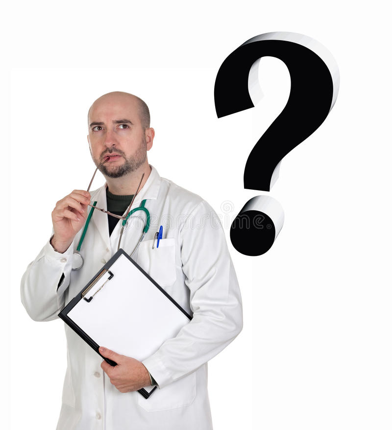 Worried doctor with pensive gesture royalty free stock photos