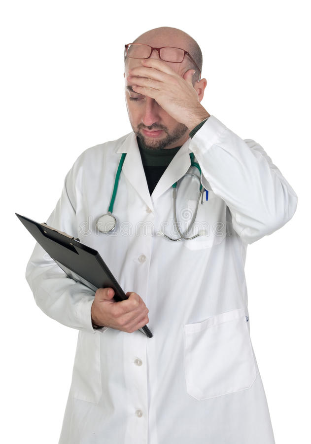 Worried doctor with pensive gesture royalty free stock photo