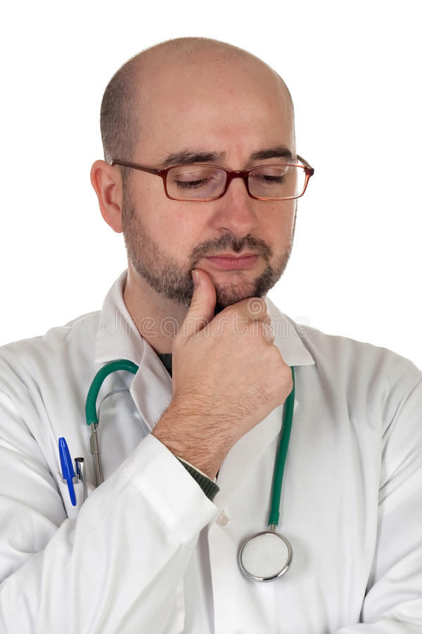 Worried doctor with pensive gesture royalty free stock images