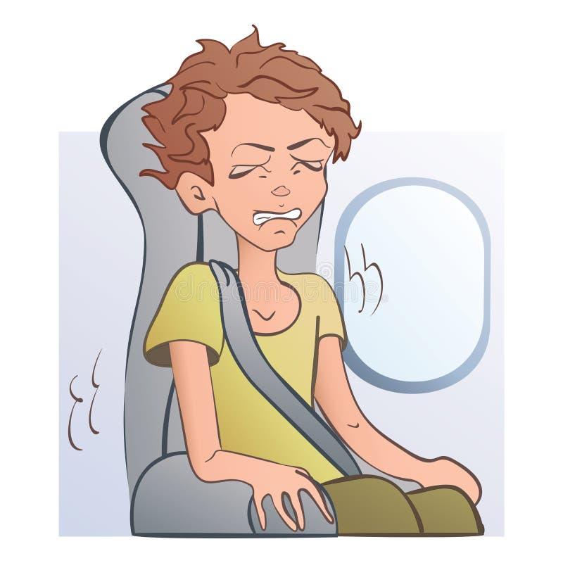 Worried a effrayé l'homme dans le siège d'avion à la fenêtre Crainte du vol, aerophobia Illustration de vecteur, d'isolement dess illustration stock