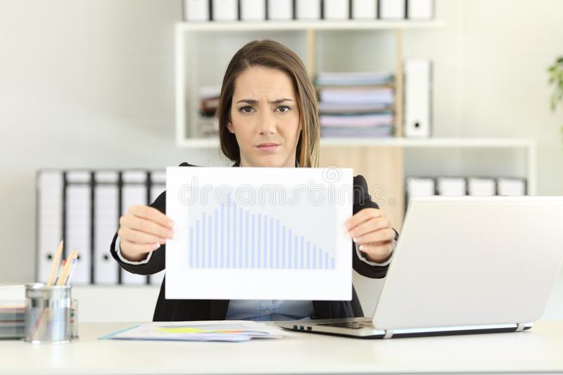 Worried executive showing a bad sales results chart royalty free stock images