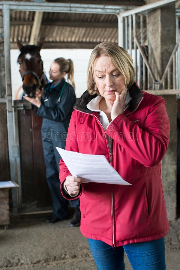 Worried Female Horse Owner Looking At Bill From Vet. Worried Female Horse Owner Looks At Bill From Vet stock photography