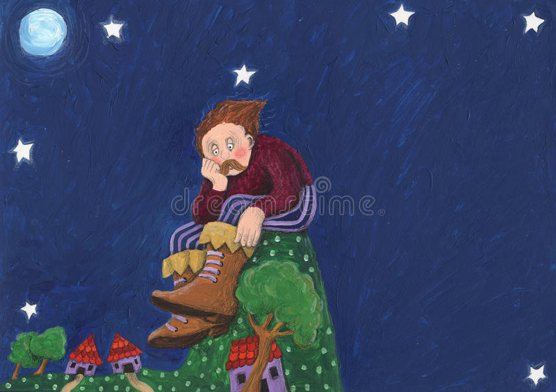 Worried Giant sitting on the hill stock illustration