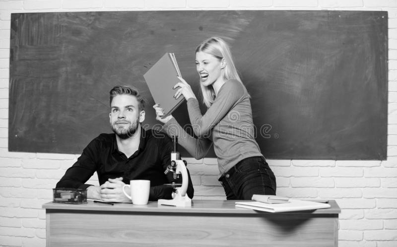 Worried about his exams. Home schooling. Modern school. Knowledge day. Student life. Lesson and blackboard. Teachers day. Back to school. Couple of men and royalty free stock photography