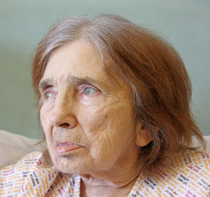 Worried hospital patient. Photo of an elderly female hospital patient looking wistful. photo taken 1st may 2013 royalty free stock image