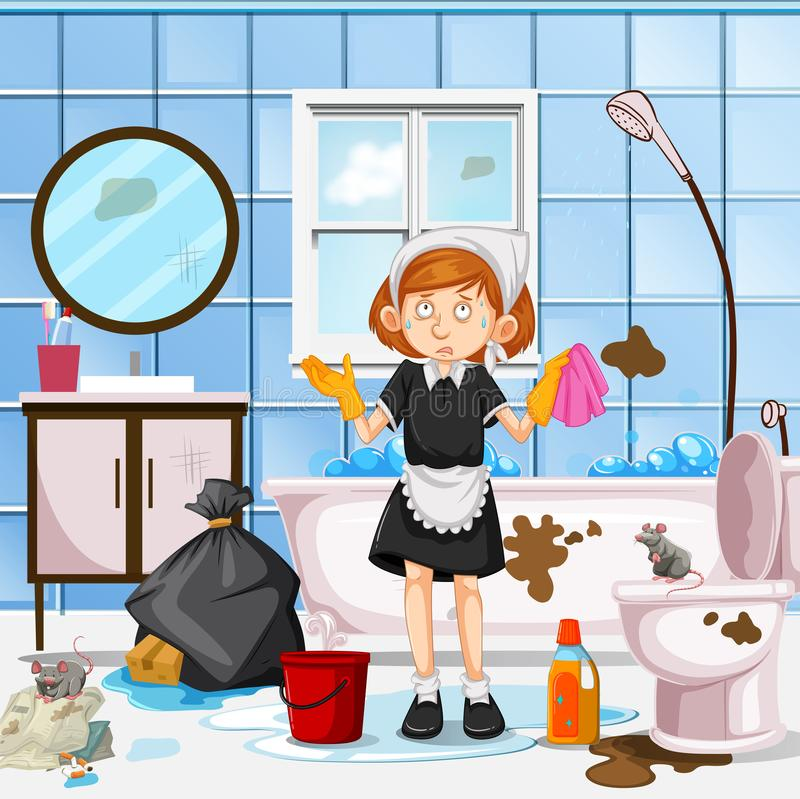 A Worried Maid Cleaning Toilet royalty free illustration