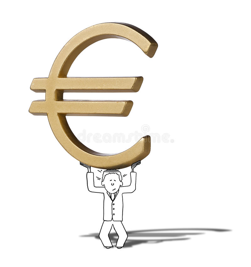 Illustration Of Difficult Increase Of Euro Symbol Stock Image
