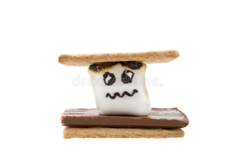 Worried Marshmallow in a Smore. On white background royalty free stock photography