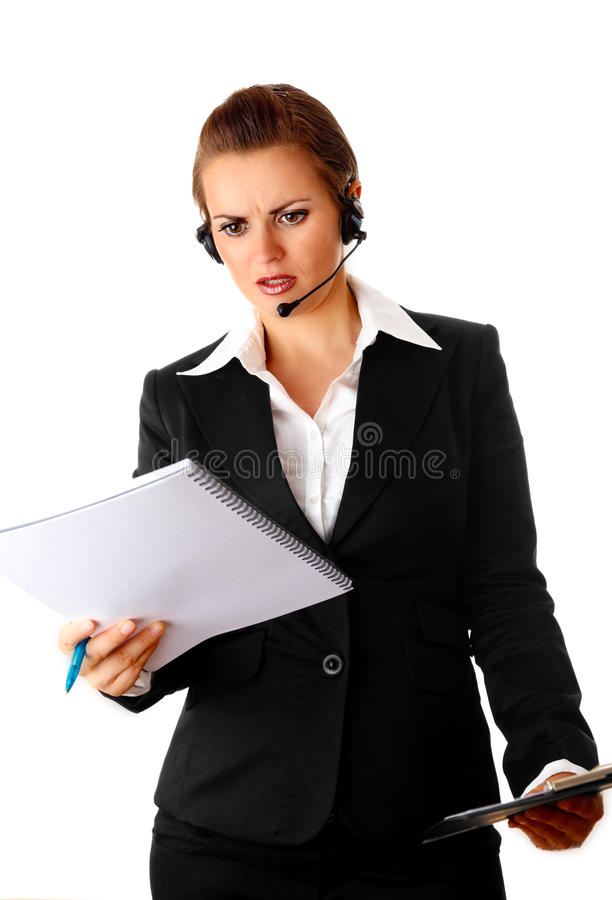 Download Worried Modern Business Woman With Headset Stock Image - Image: 16701375