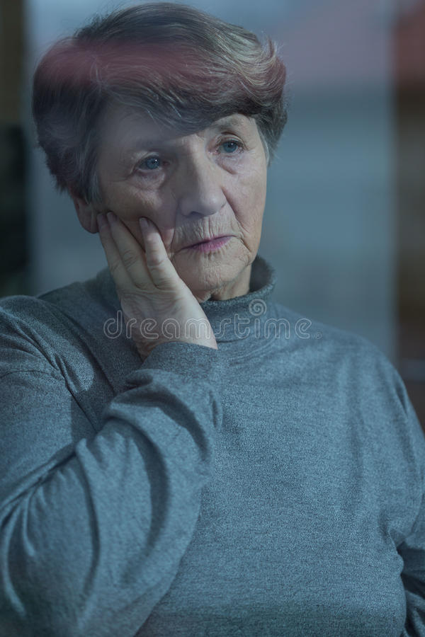 Worried resident of nursing home royalty free stock photo